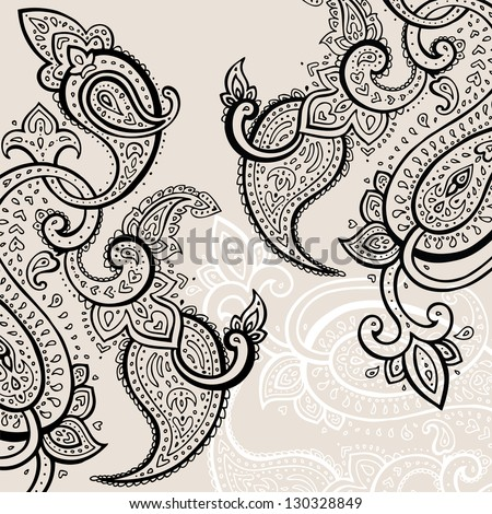 Paisley background. Hand Drawn ornament.  Vector illustration. - stock vector