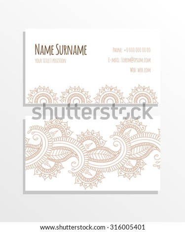 Paisley business card design. Vector illustration