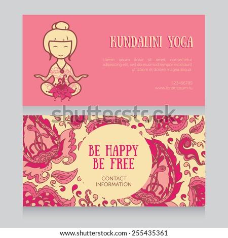 Zestaw business cards for all w portfolio happyfoxart na paisley design template for kundalini yoga studio business card vector illustration stopboris Gallery