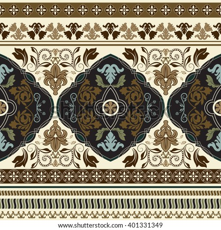Paisley floral seamless pattern. Vintage ornamental border. Design for ribbon, textile, wallpaper, wrapping paper - stock vector