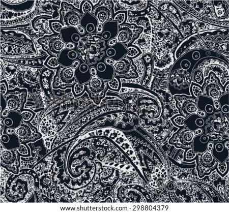 paisley floral seamless repeating pattern design - stock vector