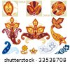 Paisley ornament elements. Design Paisley Spade Shape. Vector illustration. - stock vector