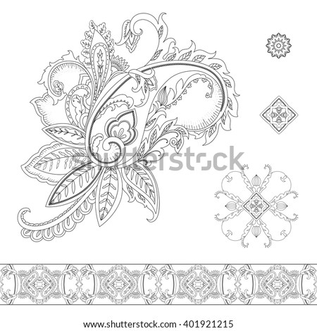 Paisley ornamental set for decor - stock vector