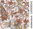 Paisley pattern. Ethnic design. Seamless background, vector illustration - stock