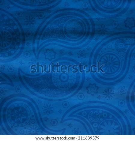 Paisley pattern on watercolor background. Vector illustration. Eps10.
