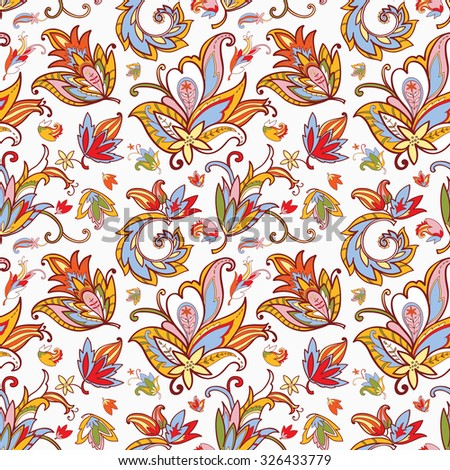 Paisley seamless pattern for design of packaging, fabric, textile, wrapping paper, wallpaper, web design. Vintage flowers background. Vector illustration - stock vector