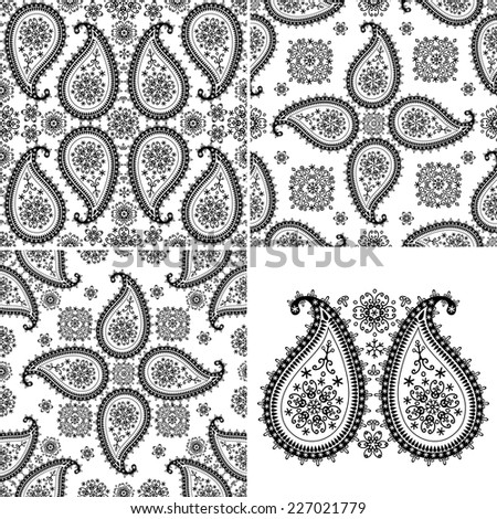 Paisley Turkish cucumbers with Snowflakes.Seamless pattern Silhouette lace set.Use for fabrics, Wallpaper, backdrop,background.Oriental motif with winter decor. Vector illustration. - stock vector