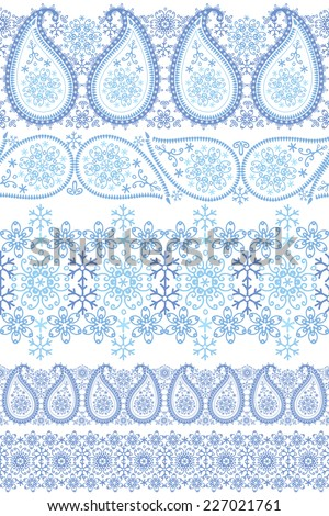 Paisley Turkish cucumbers with Snowflakes.Seamless seamless pattern border lace set.Oriental ornament?motif with winter decor. Vector illustration.For fabrics, Wallpaper, backdrop,background. - stock vector