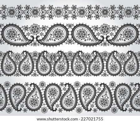 Paisley Turkish cucumbers with Snowflakes.Silhouette of seamless pattern border set.For fabrics, Wallpaper, backdrop,background.Oriental motif with winter decor. Vector illustration. - stock vector