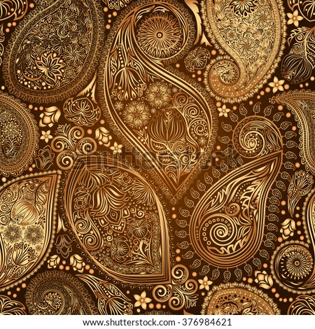 Paisley vintage floral motif ethnic seamless background. Abstract lace pattern. Ability to edit the colors, without losing seamlessly. Hand drawing colorful wallpaper. EPS-8 vector texture. - stock vector