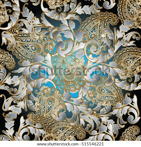Paisleys Seamless Pattern Wallpaper Illustration With Vintage Decorative White And Gold 3d Paisley Flowers Leaves