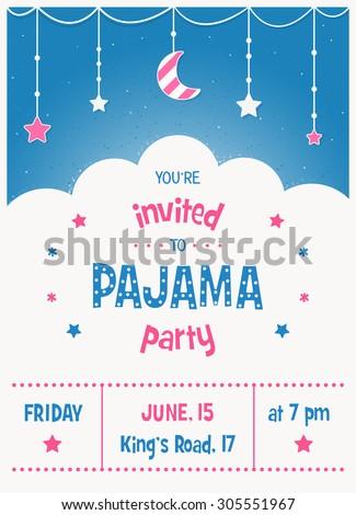 Pajama sleepover kids party invitation card stock vector 305551967 pajama sleepover kids party invitation card or poster template stopboris Images