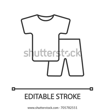 pajamas linear icon nightwear thin line illustration shorts and t shirt