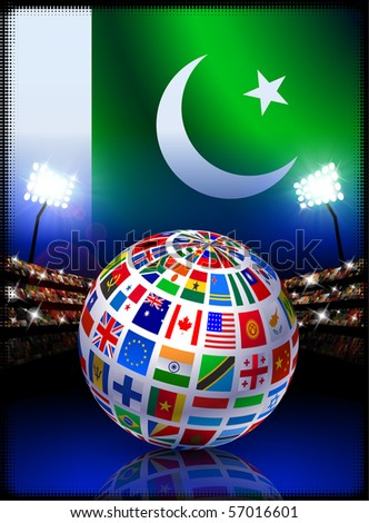 Pakistan Flag with Globe on Stadium Background Original Illustration