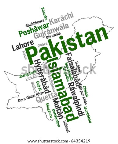 Pakistan map and words cloud with larger cities - stock vector