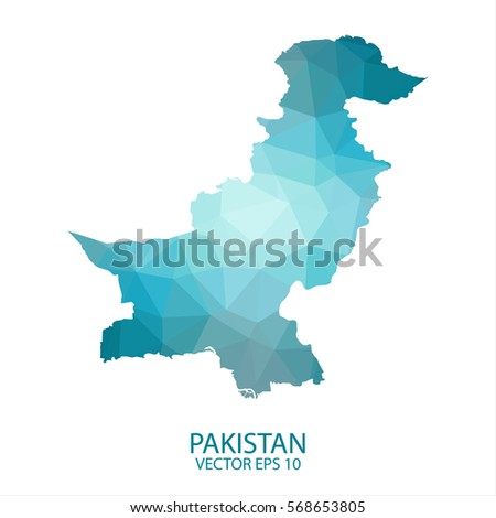 Pakistan map - blue geometric rumpled triangular low poly style gradient graphic background , polygonal design for your . Vector illustration eps 10.