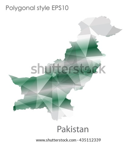 Pakistan map in geometric polygonal style.Abstract gems triangle,modern design background.Vector illustration EPS10 - stock vector