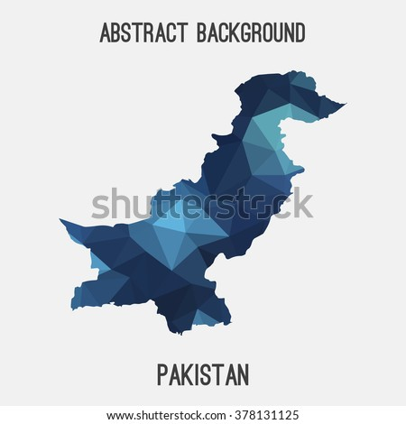 Pakistan map in geometric polygonal style.Abstract tessellation,modern design background. Vector illustration EPS8 - stock vector