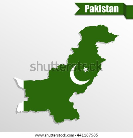 Pakistan map with flag inside and ribbon - stock vector