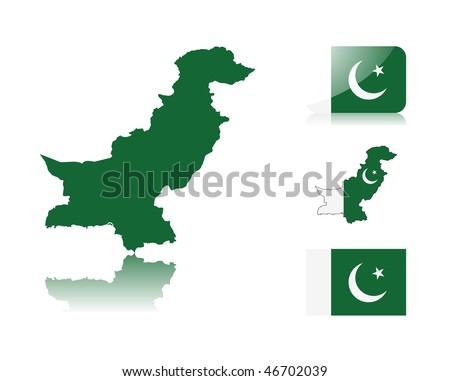 Pakistani map including: map with reflection, map in flag colors, glossy and normal flag of Pakistan. - stock vector