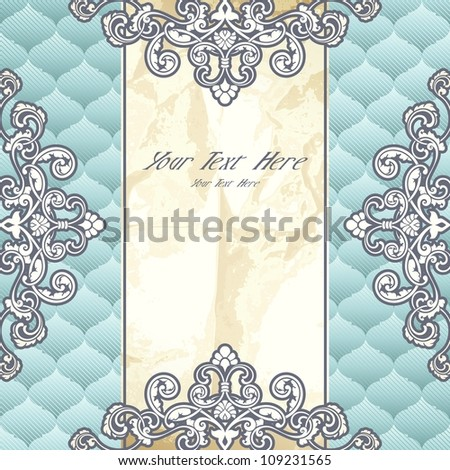 Pale blue banner with metallic ornaments (EPS10); jpg version also available - stock vector