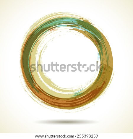 Pale brown and green vintage themed watercolor ring - stock vector