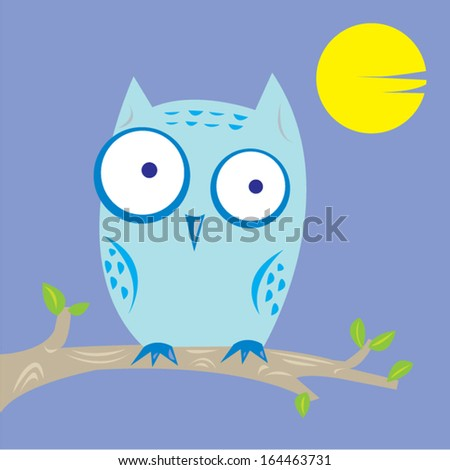Pale owl at night vector flat style illustration - stock vector