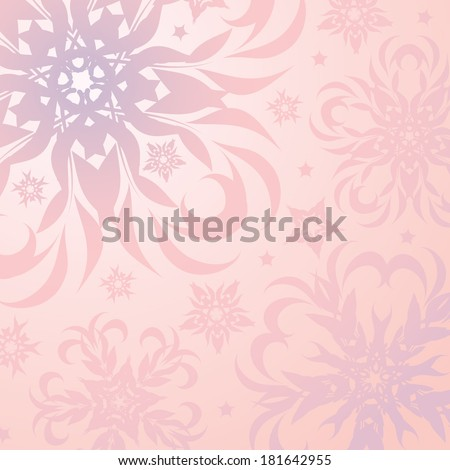 Pale pink background with floral pattern