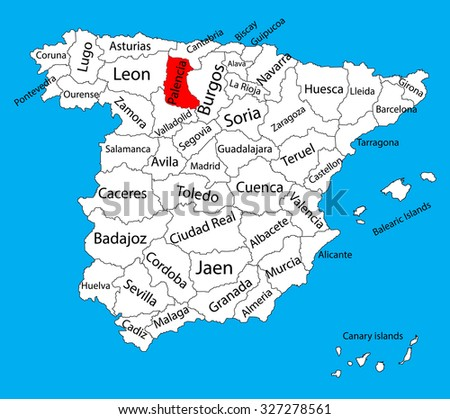 Palencia map, Spain province vector map. High detailed vector map of Spain with separated regions isolated on background. Spain autonomy areas map. Editable vector map of Spain.