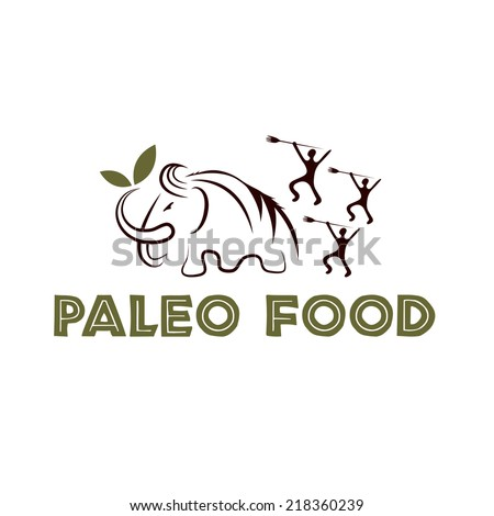 paleo food illustration with mammoth and cavemans - stock vector