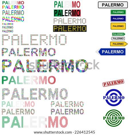 Palermo text design set - stock vector