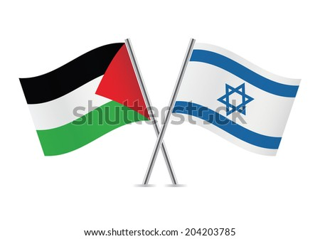 Palestine and Israel flags. Vector illustration. - stock vector