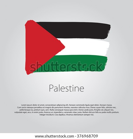 Palestine Flag with colored hand drawn lines in Vector Format - stock vector
