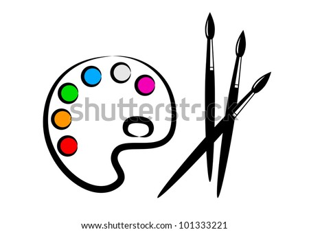 Palette and brushes - stock vector