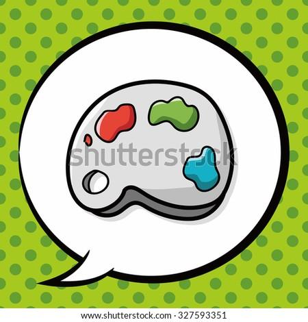 Palette color doodle, speech bubble - stock vector
