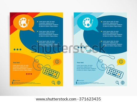Palette symbol on chat speech bubbles. Modern flyer, brochure vector template - stock vector