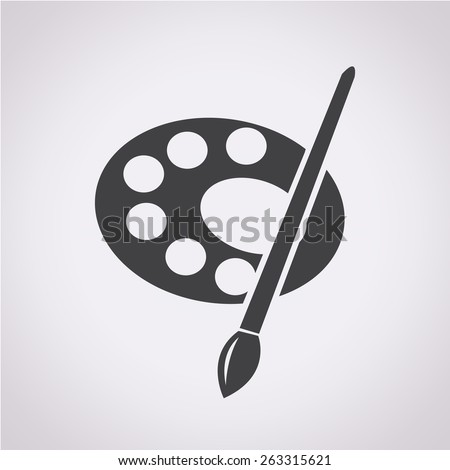 palette with paint brush icon - stock vector
