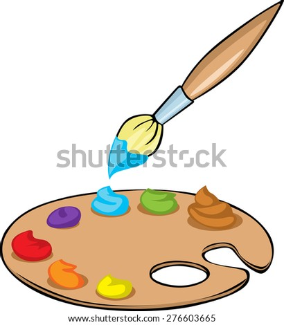 Palette with paints and brush - vector illustration  isolated on white background - stock vector