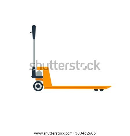 Pallet truck vector illustration. Pallet truck isolated on white background.  - stock vector