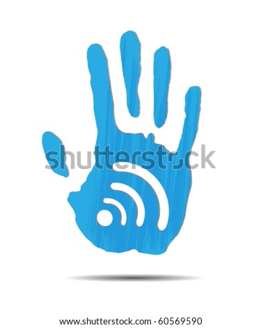 Palm and Wi-Fi - stock vector