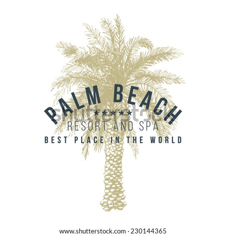 palm beach logo template with hand drawn palm tree - stock vector