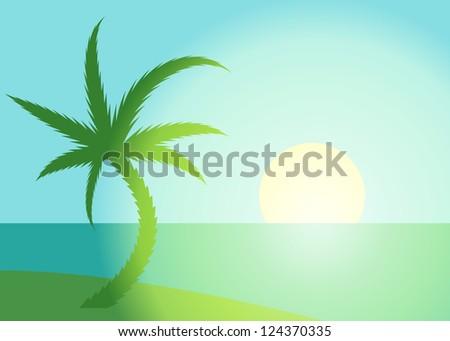 Palm beach scene with rising sun - illustration - stock vector