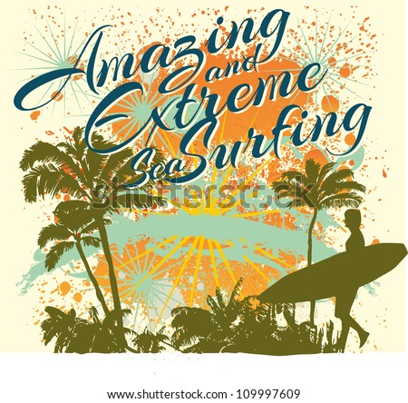 palm beach surfer - stock vector