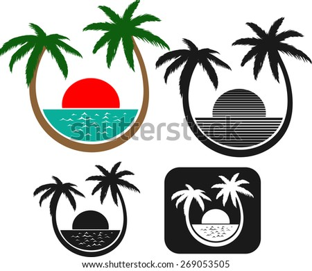 Palm beach vector set. Seashore with palm trees. Relaxation. Relax. Vacation.  - stock vector