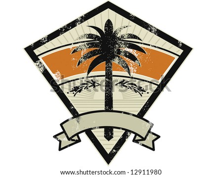 palm grunge emblem - stock vector