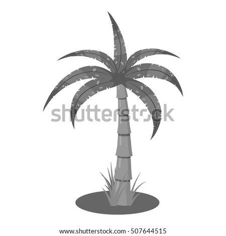 Palm icon. Gray monochrome illustration of palm vector icon for web