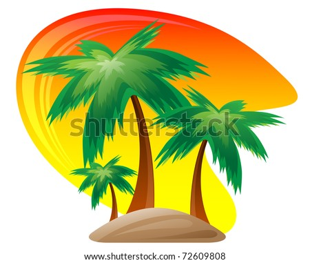 Palm island at sunset isolated on white background. - stock vector