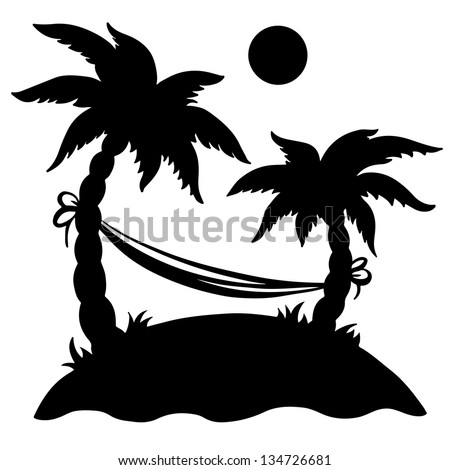 Palm island with hammock and sun isolated black silhouette on a white background. Abstract design logo. Logotype art -  vector - stock vector