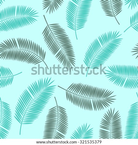 Palm Leaf Vector Seamless Pattern Background EPS10 - stock vector