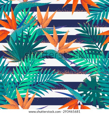 Palm leaves and strelitzia flowers with grunge striped vest seamless pattern. Tropical retro vector background